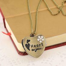 Y1UE Pocket Watch Quartz Heart Shape Couple Pendant Necklace Watches Charm Gifts Collar Personality Fashion Antique Vintage