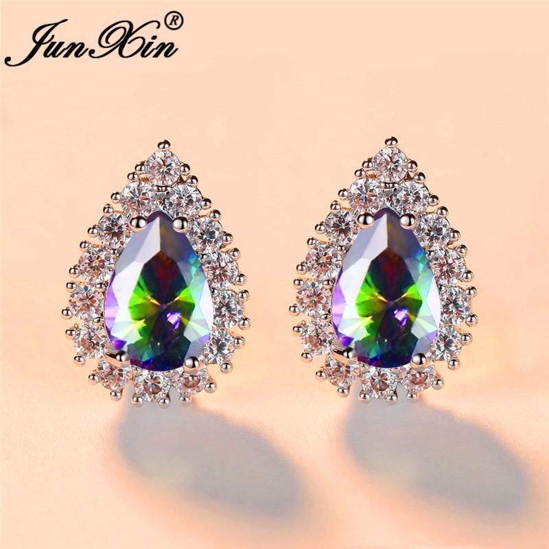 Pear Cut Mystic Rainbow Water Drop Crystal Wedding Stud Earrings For Women White Gold Lake Blue White Zircon Vintage Earrings Cz