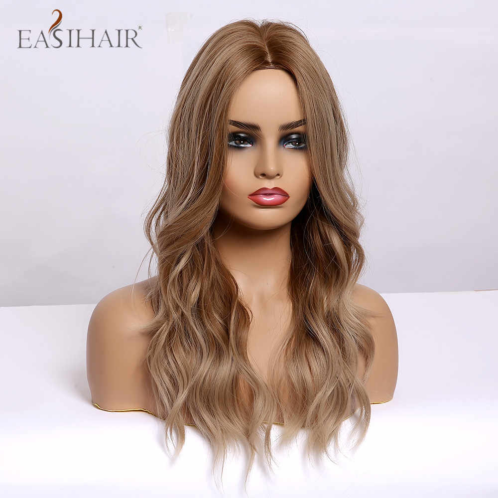 Easihair onda de água longa ombre luz marrom destaque médio parte perucas sintéticas resistente ao calor cosplay perucas femininas para mulher afo