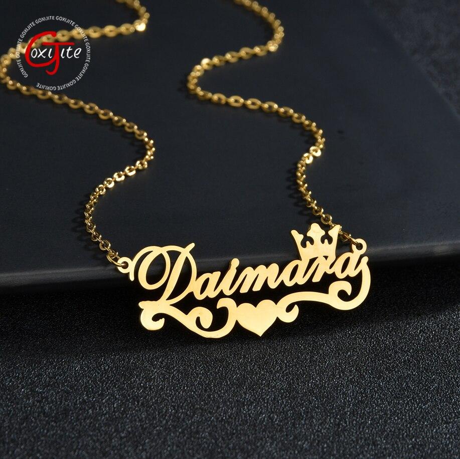 Goxijite 2020 Trendy Name Halskette Edelstahl Personalisierte Name Krone Anhänger Halsketten Für Frauen Schmuck
