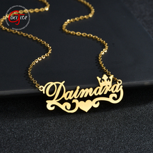 Goxijite 2020 Trendy Name Necklace Stainless Steel Personalized Name Crown Pendant Necklaces For Women Jewelry