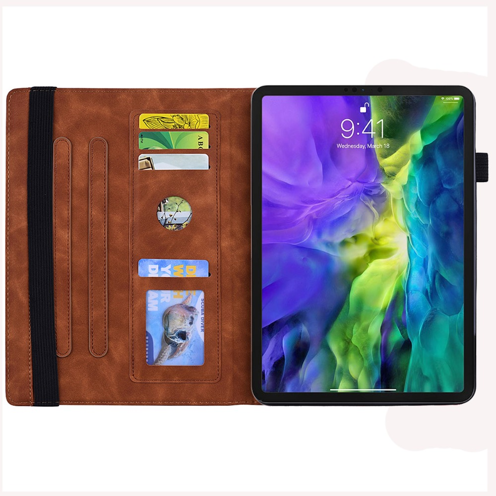 iPad Funda 4th-Generation-3rd Embossed PU Folding-Stand for 9-Cover Pro-12.9-Case Apple