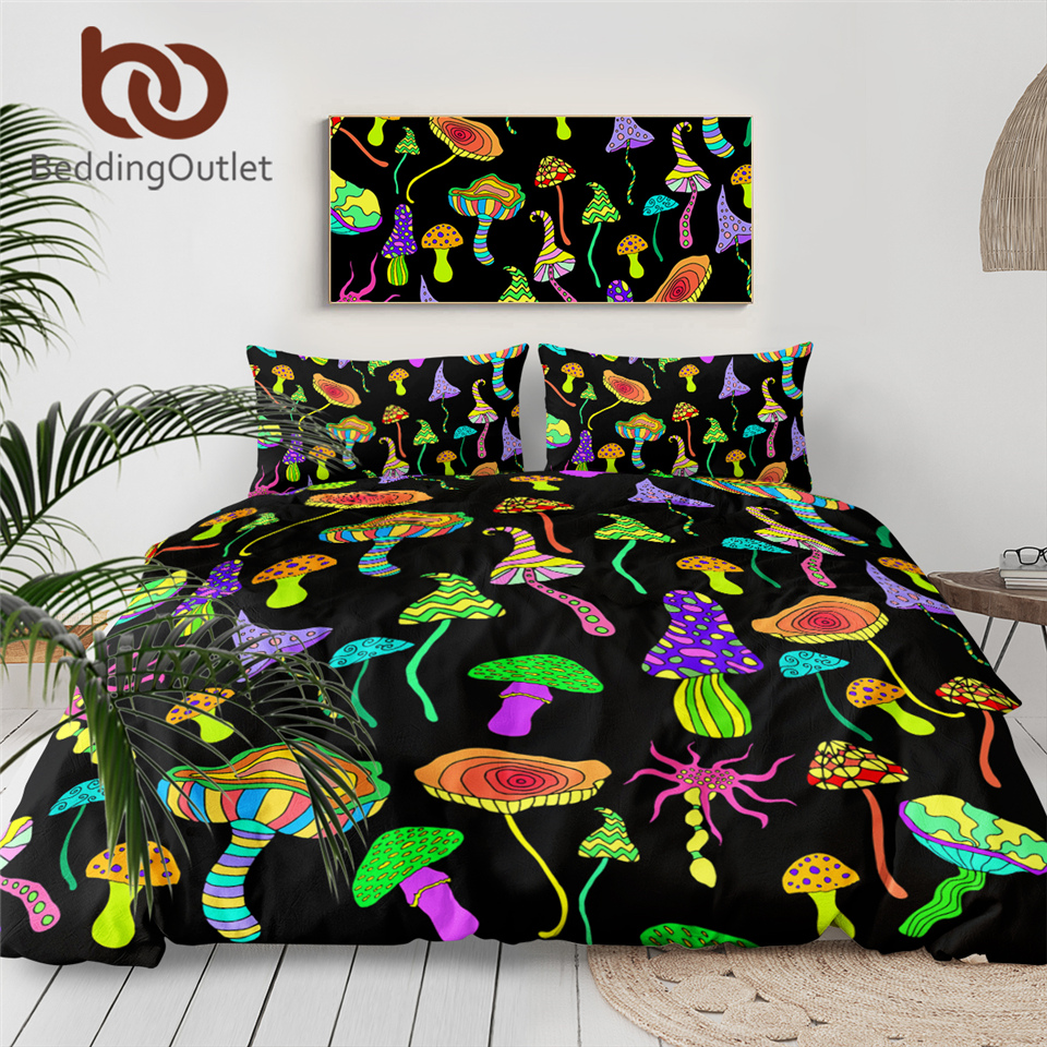 BeddingOutlet Psychedelic Mushroom Duvet Cover With Pillowcase Rainbow Colorful Bedding Set Fantastic Abstract Art Teen Bedlinen