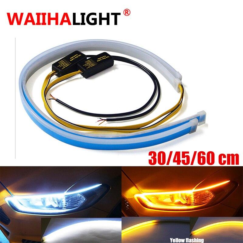 60CM LED Amber Red Strip DRL Daytime Running Light Flexible Soft Tube Guide Lamp