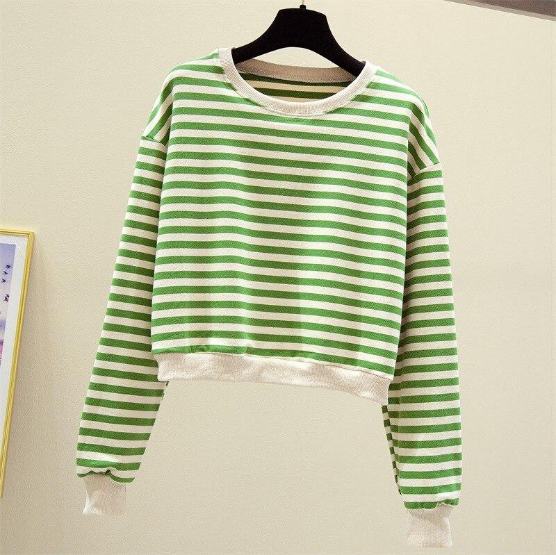 New Loose Lazy Striped Casual Wild Long Sleeve Sweatshirt