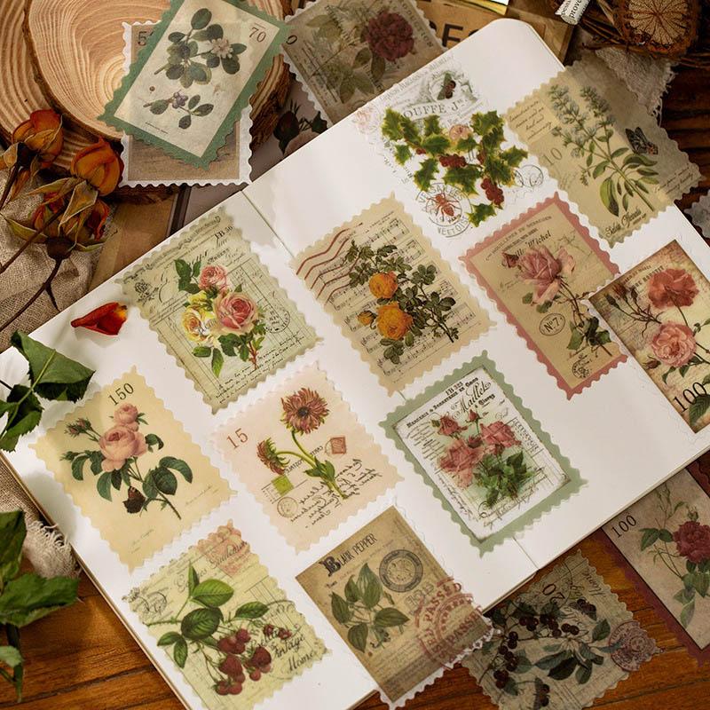 60Pcs Vintage Stamp Stickers Kawaii Time Post Office DIY Stickers Diary Sticker For Kids Diary Scrap