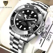 2021 lige relógio masculino automático mecânico tourbillon relógio de moda militar relógios 100atm aço inoxidável à prova dwaterproof água