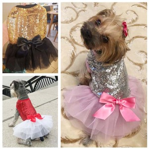 Luxury Princess Wedding Dog Dresses for Small Dogs Sequin Shirt Summer Tutu Dress Dog Clothes for Chihuahua Girl Puppy Apparel(China)