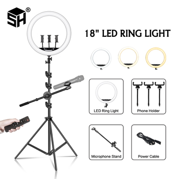 18inch/45cm Led Ring Light Professioal Photography Selfie Ring Light For Tik Tok Makeup Video Light With Tripod & Mic Stand