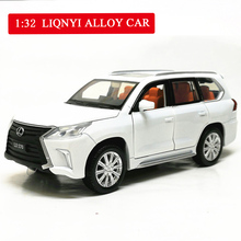 1:32 Lexus570 Alloy Car Pull Back Car Model Diecast Metal Toy Vehicles with Sound Light 6 Open Doors for Kids Gift Free Shipping r c racing car parts cnc metal pull starter with cnc metal turbine for 1 5th rc gas model car for baja free shipping