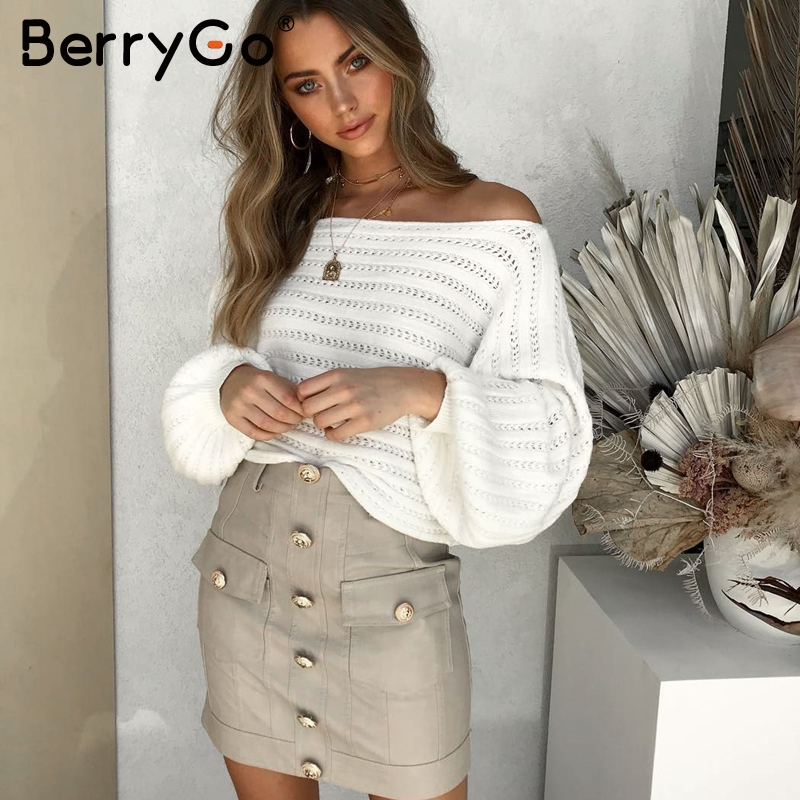 BerryGo Sexy Off Shoulder Women Knitted Sweater Lantern Sleeve Hollow Out Pullover Sweaters Loose Autumn Winter White Jumpers