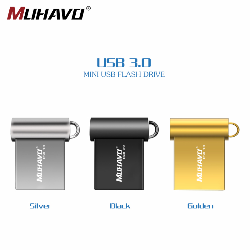 Fashion Super Mini Metal USB 3.0 Flash Drive 16GB 32GB Pen Drive 64GB 128GB 8GB Usb3.0 Flash Stick Pendrive With Key Ring