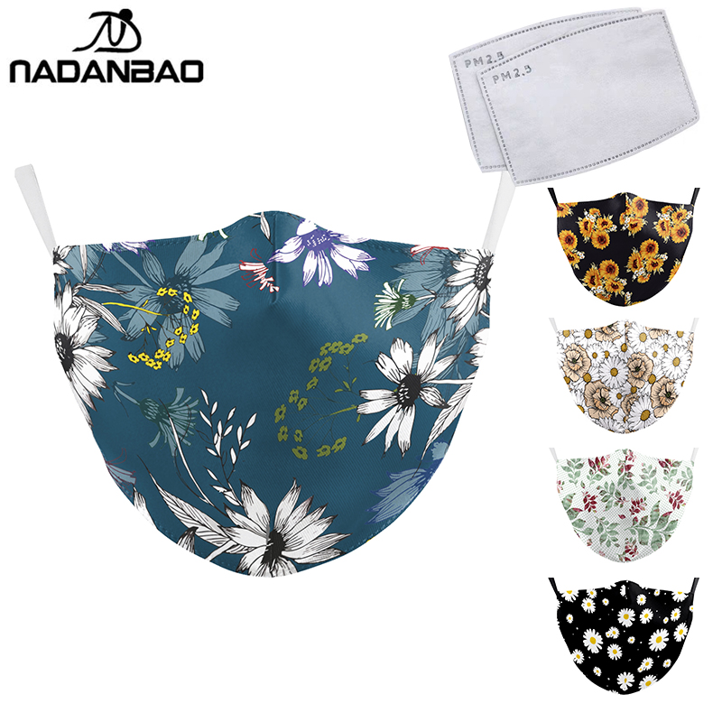 NADANBAO NEW Fashion Flowers Print Face Mask Simple Design Washable Masks Adult Reusable PM2.5 Filter Dust Proof Mouth Cover