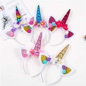 2018 New Brand Cute Kids Women Sweet Flower Unicorn Horn Hair Band Headband Birthday Party Flower Floral Headwear Crown(China)