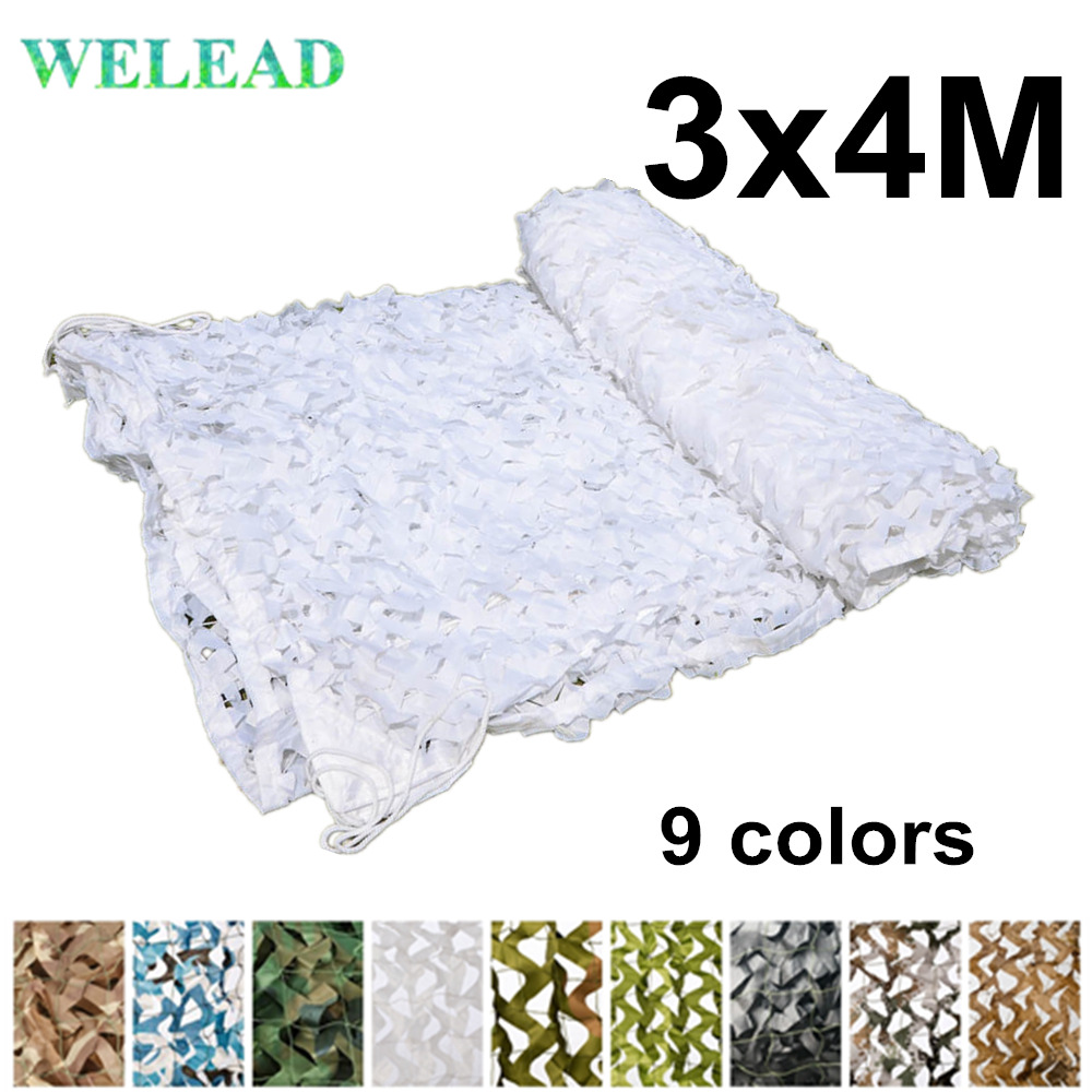 WELEAD 3x4M Reinforced Camouflage Net Military White Blue Sand Black For Outdoor Awning Garden Shade Hide Mesh 3x4 4x3 3*4M 4*3M