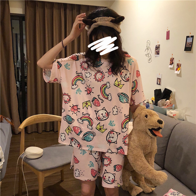 Summer Short-sleeved Pajamas Women's Rainbow Cat M -Xxl