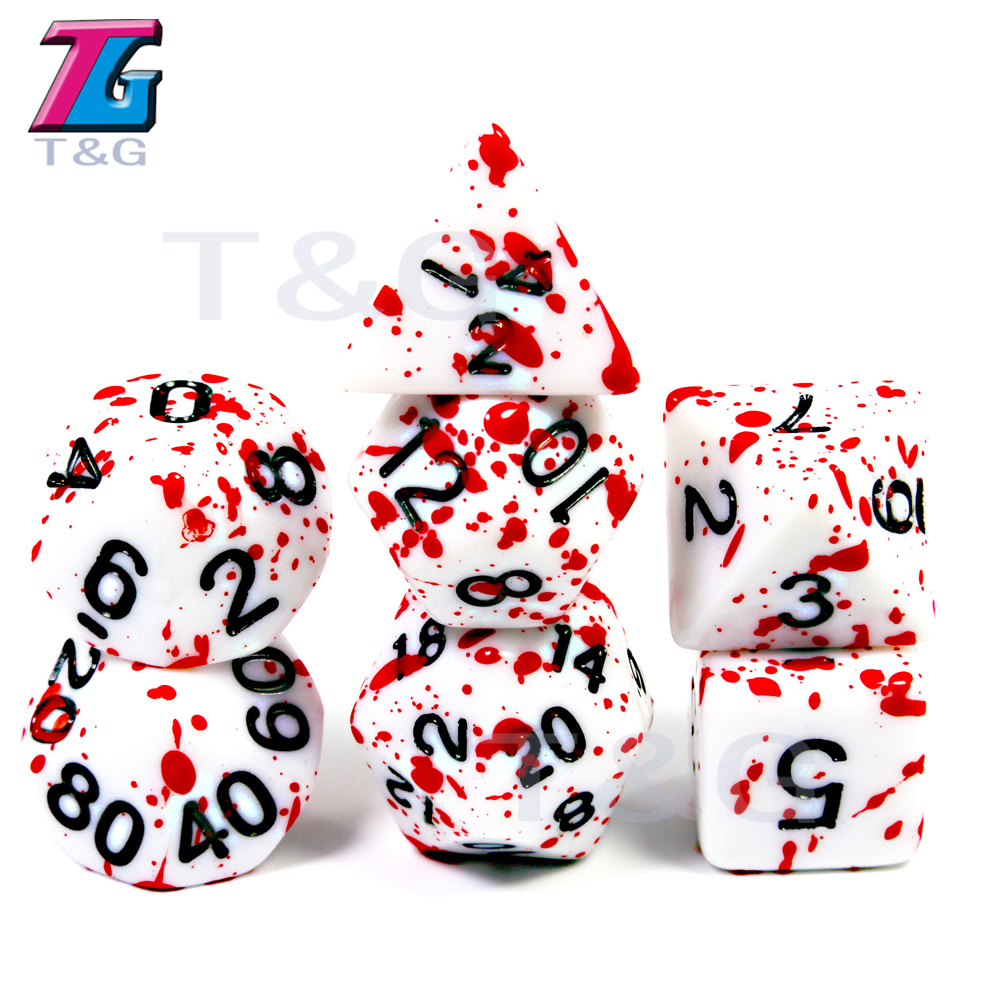 Withe Dice Red Ink7Pcs/Set Polyhedral Dice with Dice Bag for Dungeons Dragons D4-D20 Multi Sides Dice Pop for BoardGame