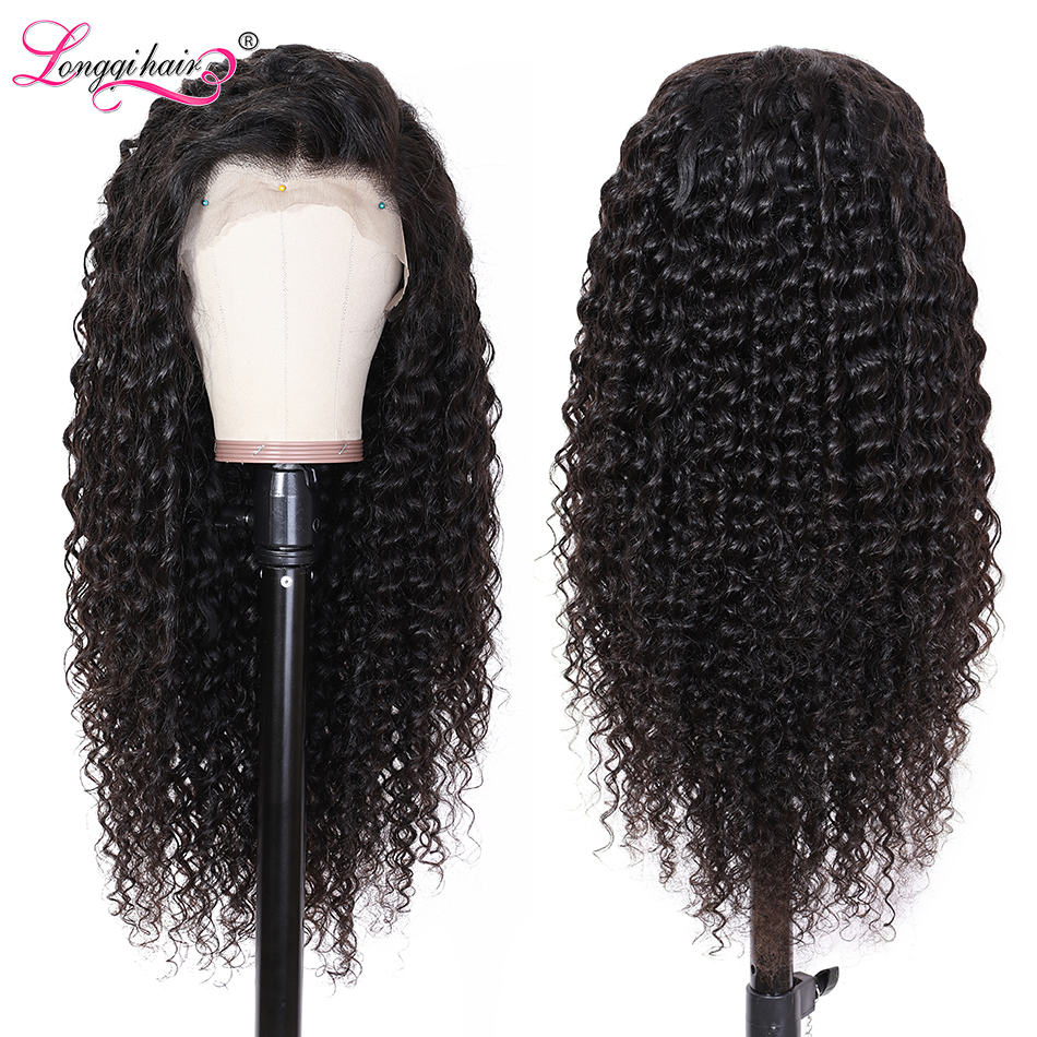 Wig Human-Hair Deep-Wave Longqi Full-Lace Brazilian Black-Women for Pre-Plucked Remy