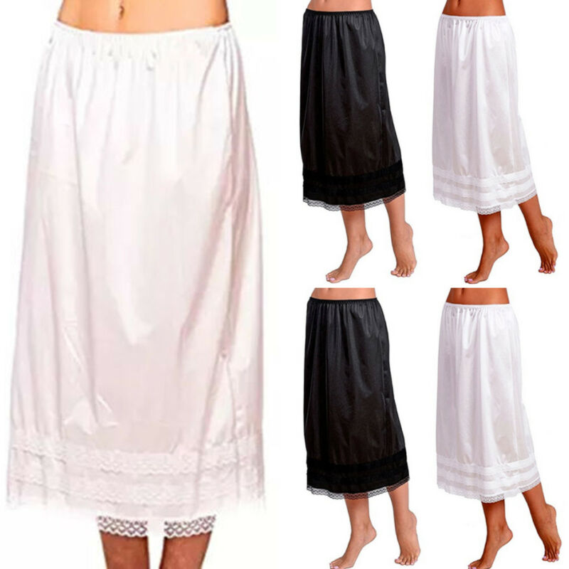 L-3XL Plus Size Women Ladies Elastic Waist Slip Ladies Womens Lace Long Skirt Underskirt Petticoat Extender Gonne White Skirts