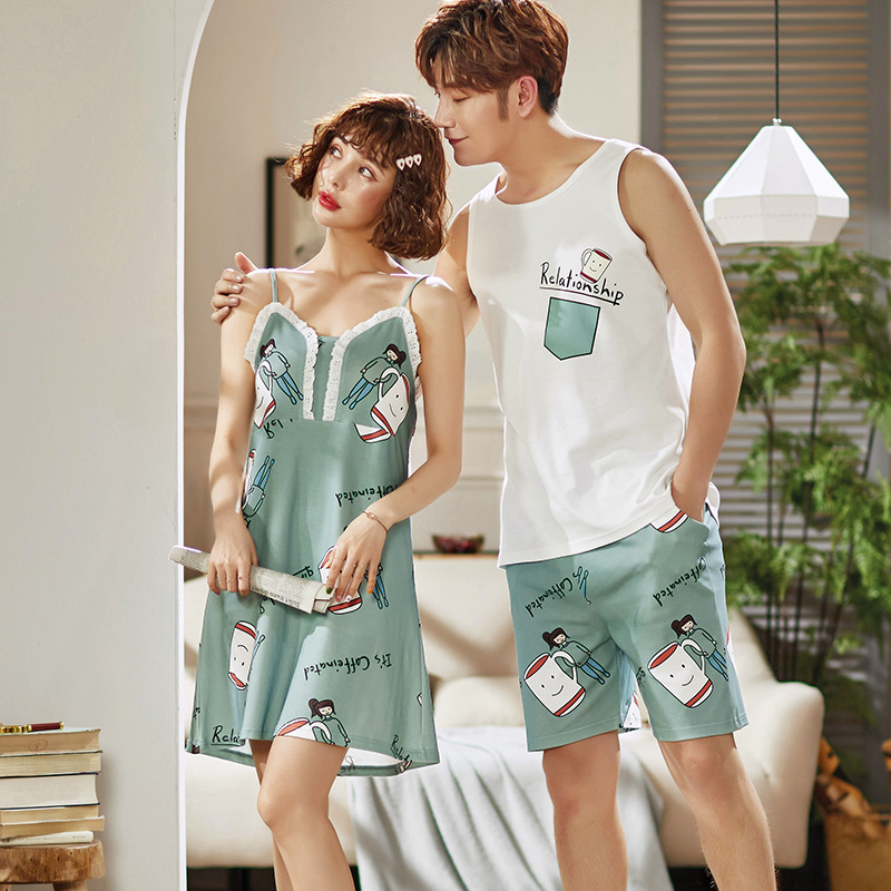 Couples-100-Cotton-Spaghetti-Strap-Nightgowns-for-Women-Summer-Home-Dress-Sleepwear-Night-Dress-Nightdress-Men(1)