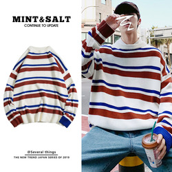 Winter New Sweater Men Warm Fashion Contrast Color Casual O-neck Knit Pullover Men Hip-hop Loose Striped Sweater Male Clothes