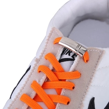Elastic shoelace magnetic fashion convenient metal lock lazy outdoor sports shoes fast flat bottom without laces 1 pair
