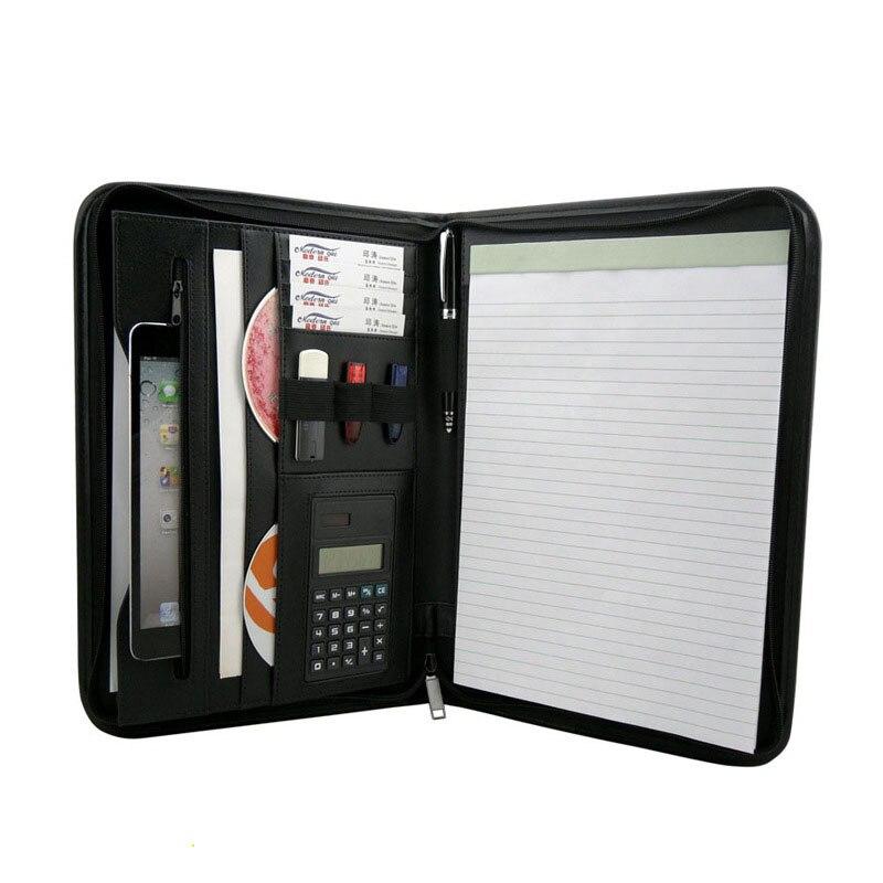Business Portfolio Information Folders Calculator PU Leather Multifunctional A4 Manager File Folder  Office Organizers M700370