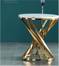 Luxury light stainless steel gilt brushed designer tea table circle a few edges gold iron web celebrity minimalist marble