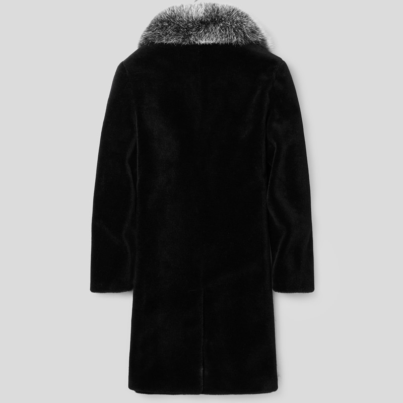 Real Sheep Shearling Fur Coat Winter Jacket Men 100%Wool Coat Fox Fur Collar Long Coat Men Plus Size LSY088333 MY1130