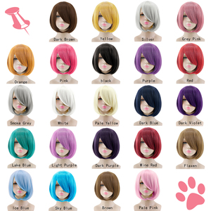 Image 3 - MUMUPI Short Straight Hair Wig Synthetic Light Pink Gray Pink 23 Color Cosplay Bob Wig with Bangs Heat Resistant Women Peruca