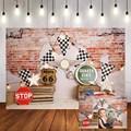 Фотофон Mehofond с изображением гоночного автомобиля, винтажная кирпичная стена, баннер, детский праздник, день рождения, Фотофон