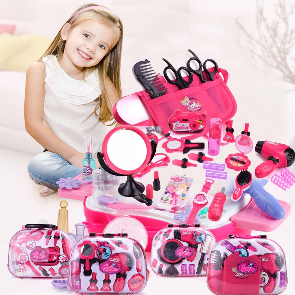 Pretend Toys Set Girl Simulation Make Up Toy Handle Box Children Makeup Hairdressing Plastic Toy For Girls Beauty Fashion Gift
