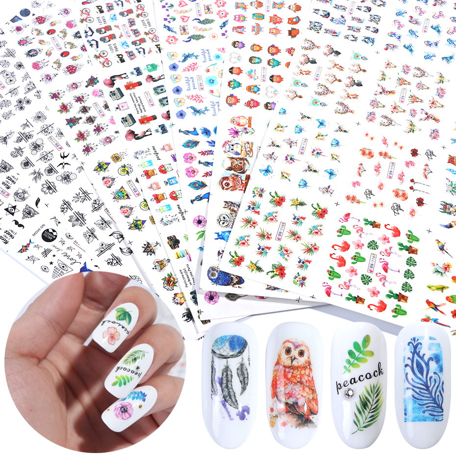 84 pcs Mixed Design Nail Art Stickers Set Water Transfer Decals Slider For Nails Art Decor Manicure Adhesive Tips SABN1129-1212
