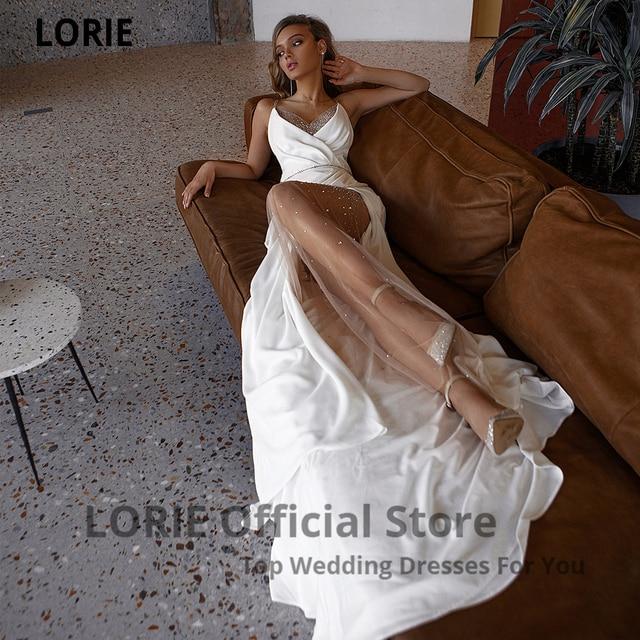 LORIE White Mermaid Wedding Dresses Soft Satin Beach Bridal Gowns V-Neck Spaghetti Straps Luxury Beading Princess Party Gowns 3