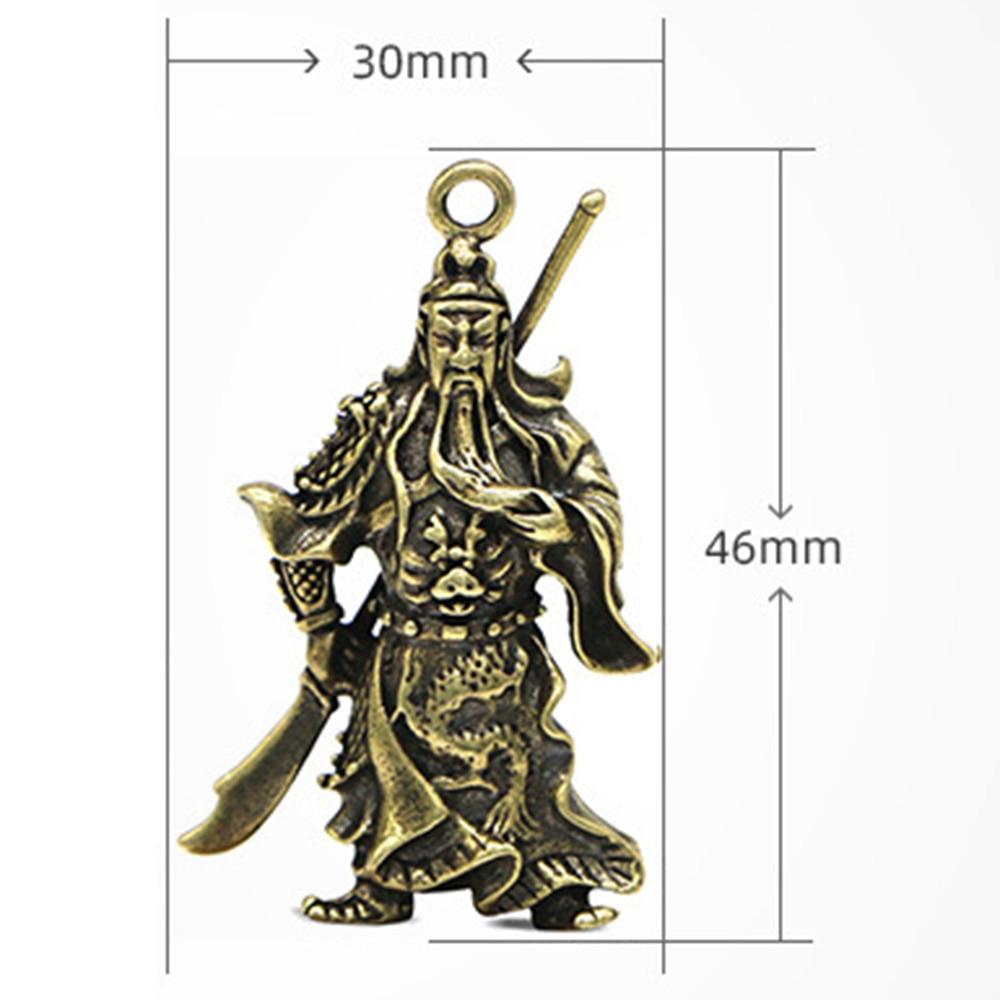 Brass Key Pendant Pure Copper Guan Yu Car keychain Decoration Gift 46*30mm Pendant Jewelry Keychain Accessories Decor Gift