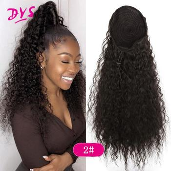 Drawstring Puff Long Kinky Afro Curly Ponytail Synthetic African American Hair Extension Ponytail Clip in Hairpiece 45cm long curly sweet lolita ponytail extension hairpiece wig dark brown