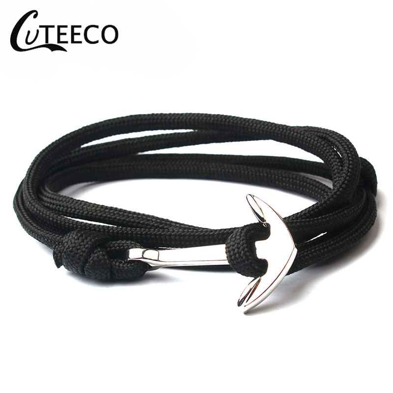 CUTEECO New Anchor Bracelets Men Charm 550 Survival Rope Chain Paracord Bracelet Male Wrap Sport Sliver Hooks Gifts For Men in Chain Link Bracelets from Jewelry Accessories