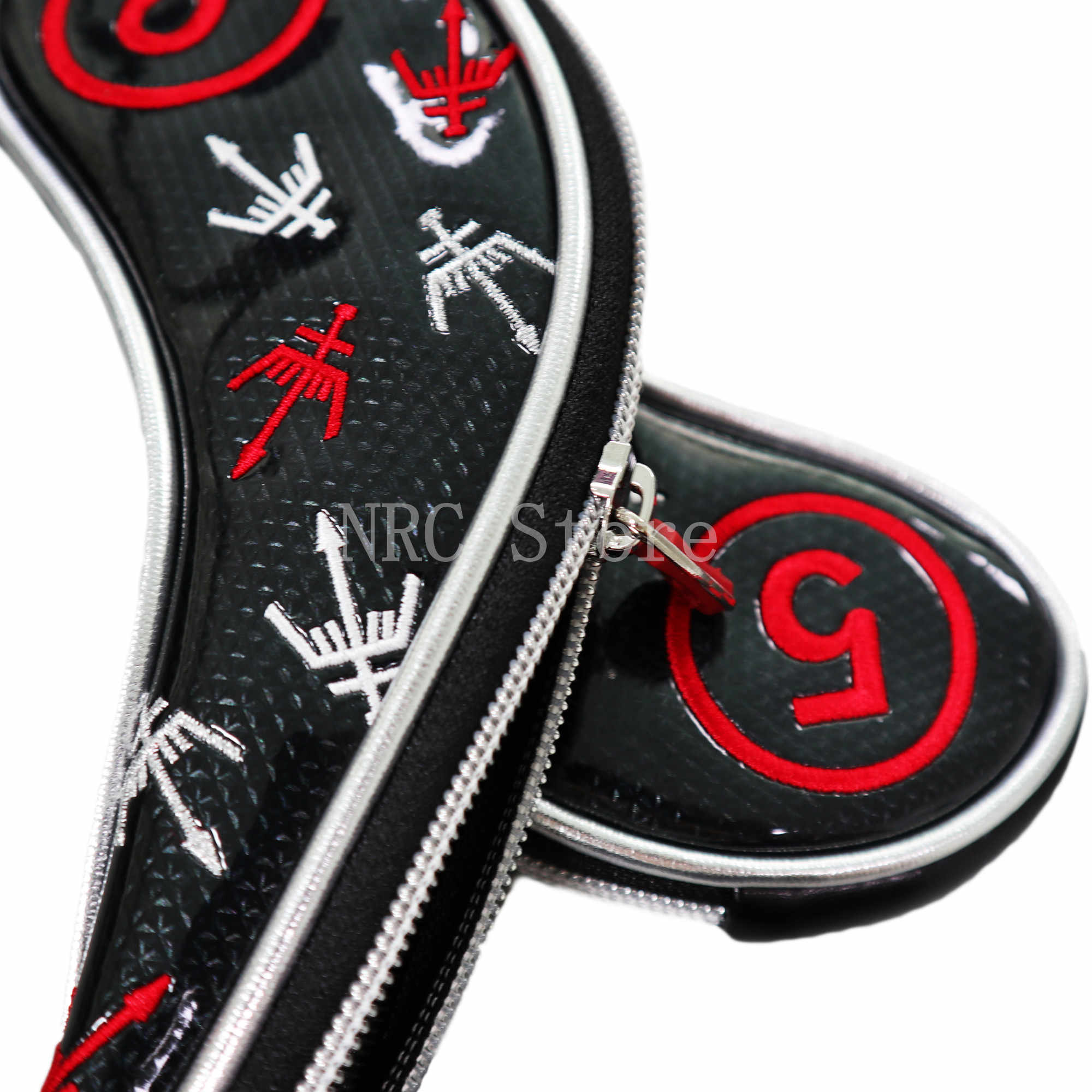 Металлические головные уборы NRC для гольфа, синтетическая кожа по индивидуальному заказу, 9 шт. (4,5,6,7,8,9,P,S,A), комплект с защитной крышкой на молнии