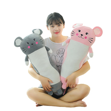 1Pcs Cute Rat Long Pillow Birthday Party Soft Plush Toys Rat Kawaii Lovely Mouse Stuffed Animal Gift for Kids Girl Boy Baby Doll стоимость