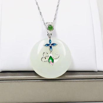 Natural Hetian White Jade 925 Silver Peace Buckle Pendants Fine Jewelry Women Party Necklace