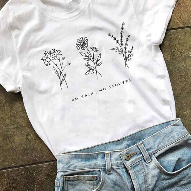 Harajuku No Rain No Flowers T Shirt Women Harajuku Garden Farm T-shirt White Soft Ringspun Tee In Girls Ladies Clothing(China)