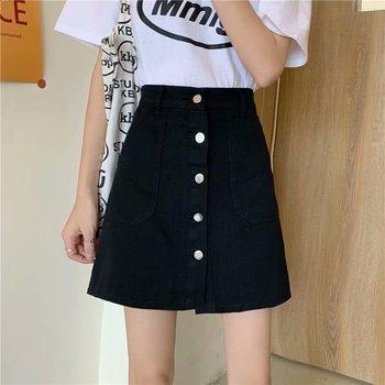цена на High-waist denim skirt female a-type design niche harem skirt summer student a-line skirt female short skirt