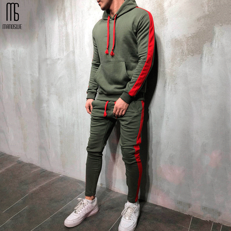 Manoswe Autumn Winter Tracksuit Sportswear Set Man Sporting Clothing Hoodie+Pants Set New 2019 5 Colors Hoodies Long-sleeved