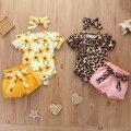 Набор для новорожденных Pudcoco, комплект для маленьких девочек с коротким рукавом, подсолнухом, леопардовым принтом, одежда для маленьких дев...
