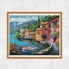 Waterside House Paintings Count Print on Canvas Chinese Cross Stitch