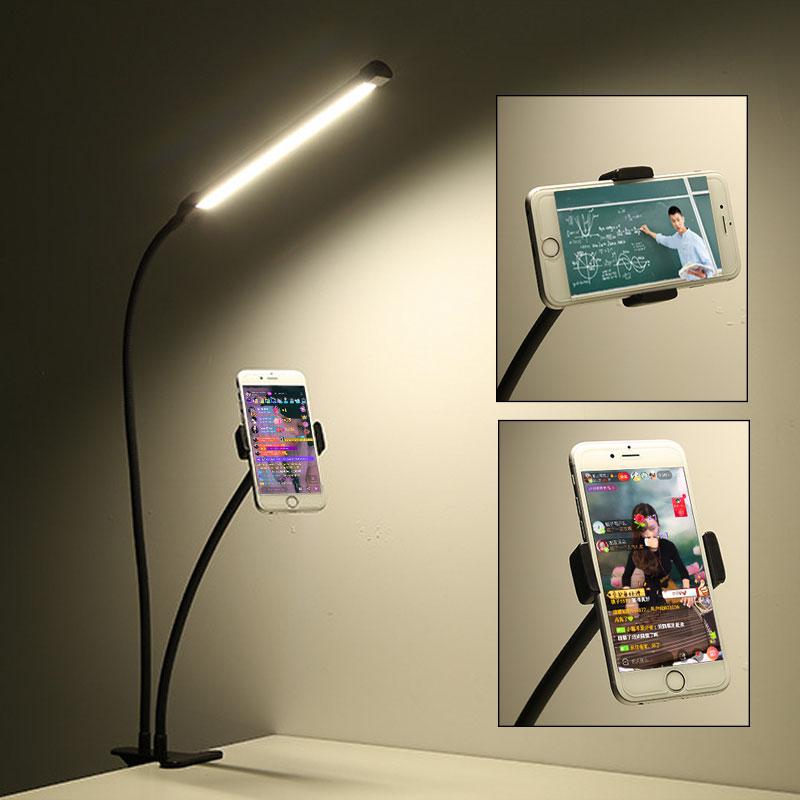 360 Degree Mobile Phone Holder Stand With Selfie LED Light For Live Stream Long Arm Bracket Desk Lazy Support Flash LED Light