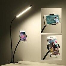 Stand Desk Led-Light Flash Mobile-Phone-Holder Selfie Live-Stream Arm-Bracket Lazy-Support