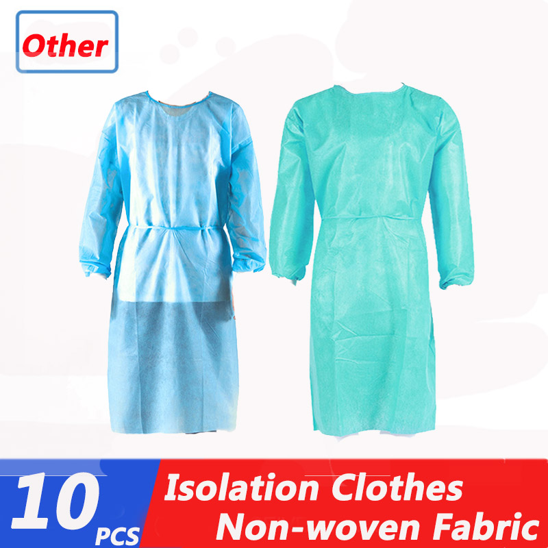 10pcs Disposable Isolation Clothes Disposable Bandage Coveralls Surgical Gown Medical Clean Laboratory Isolation Cover Gown