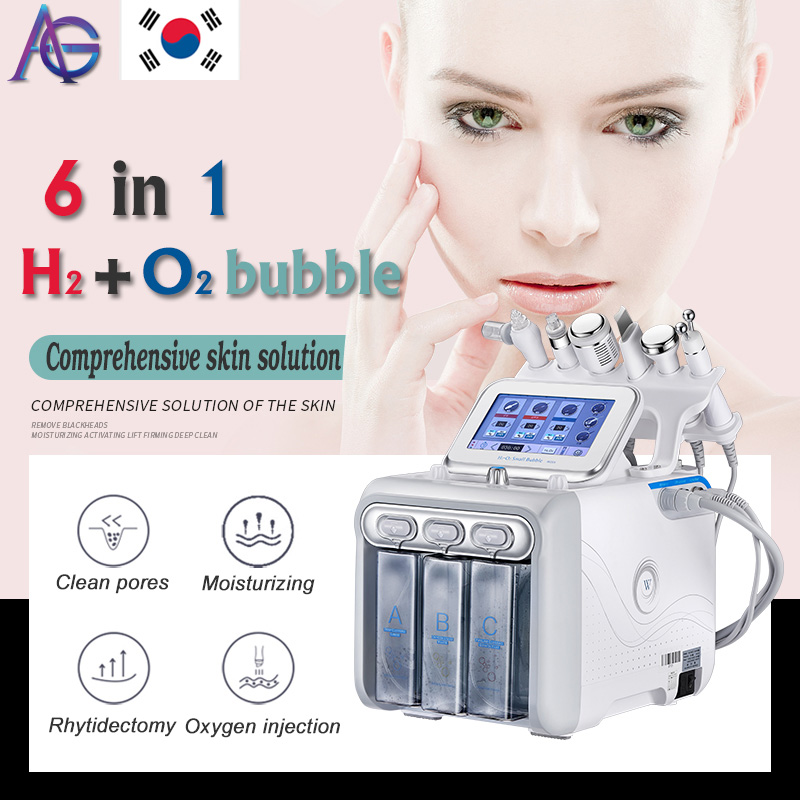 Hot Upgrade! Hydrafacial 6in1 Small Bubble Skin Care Tools BIO Ultrasonic RF Hydra Deep Facial Pore Clean Facial Massage Machine
