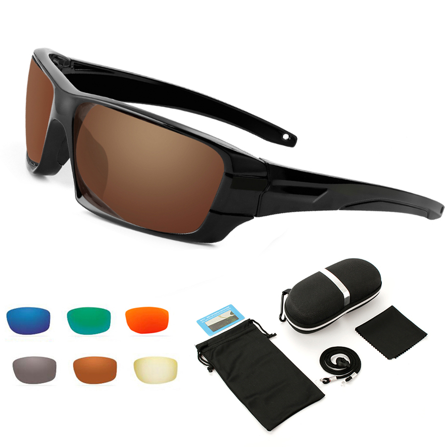 NEWBOLER Polarized  Sunglasses Fishing Anti Glare Sport Sun Glasses Brown Running Hiking Camping Eyewear UV 400 6 Lens Option